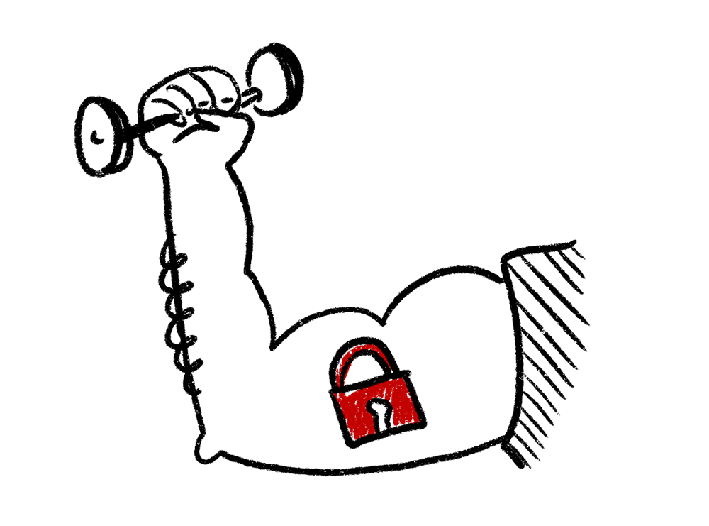 Strong arm lifting weights with lock tattoo Managed IT Security